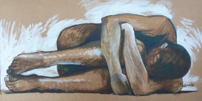 "Schilderij ""angst"" van Claire Poutsma."