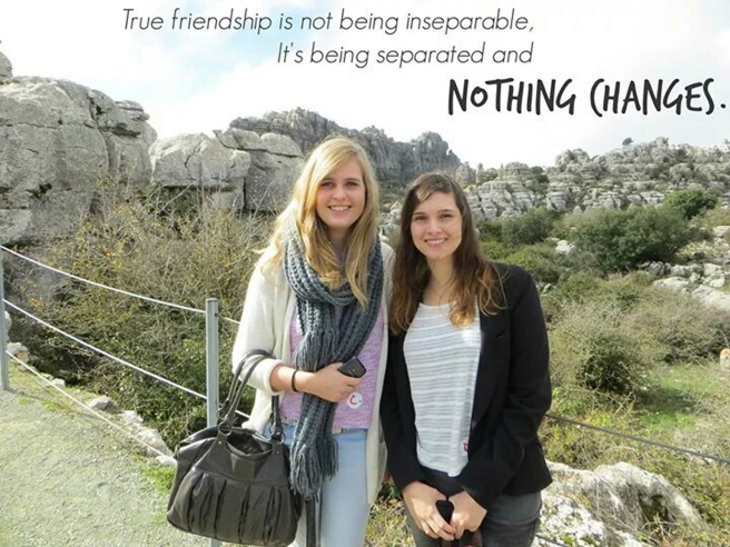 Friendship is not being inseparable, it's being seperated and nothing changes.