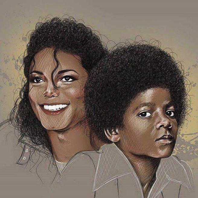 Michael Jackson young and old, painting