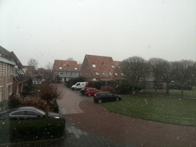 Lichte sneeuw in Barneveld