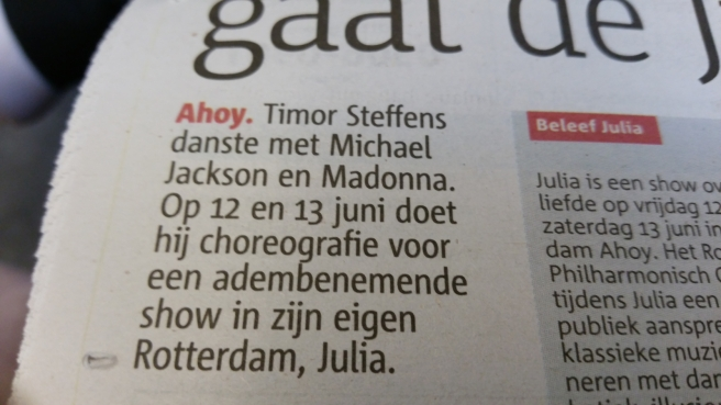Timor Steffens interview De Metro krant, Michael Jackson
